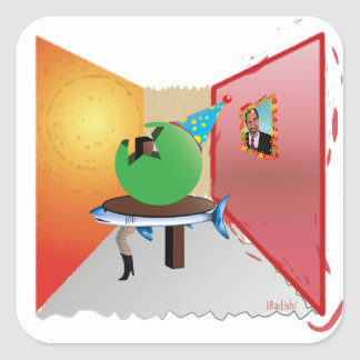 Surreal Party - Colorful, Weird and Artistic Square Sticker