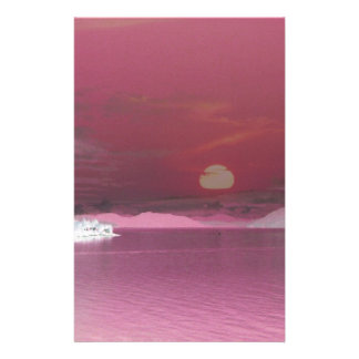 Surreal Pink Fantasy World Ocean Sunset Stationery Paper