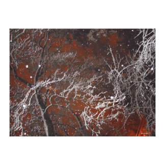 Surreal Red Sky Winter Snowy Trees and Snowflakes Stretched Canvas Print