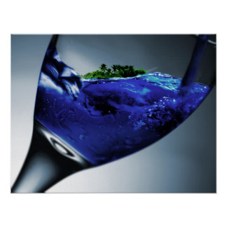 Surreal Tropical Island in a Wine Glass Poster