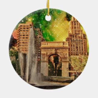Surreal Washington Square Park, NYC Round Ceramic Decoration