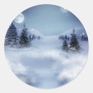 Surreal Winter Round Sticker