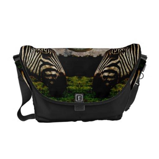Surreal zebras and watch messenger bag