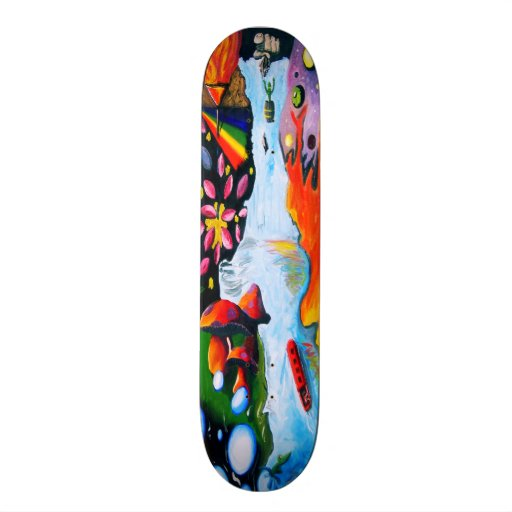 Surrealistic Dali Style Mushroom Wonderland Skate Board