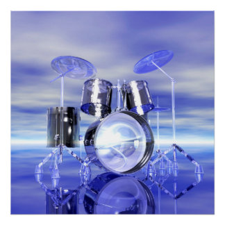 Surrealistic Drumset on the Beach Music Poster