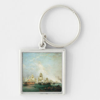 Surrender of the 'Santissima Trinidad to Silver-Colored Square Key Ring