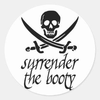 Surrender the Booty Round Sticker