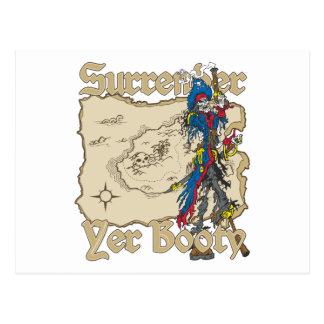 Surrender Yer Booty Pirate Treasure Map Postcard