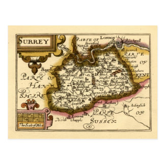 Surrey County Map, England Postcard