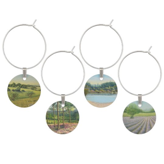 Surrey Landscapes-Epsom Downs Wine Glass Charms