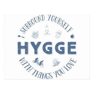 Surround Yourself w. Hygge (Dark Blue text) Postcard