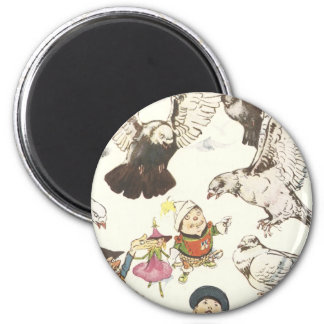 Surrounded by Pigeons 6 Cm Round Magnet