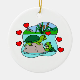Surrounded By Turtle Love Christmas Ornament