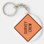 Survey Crew Highway Sign Basic Round Button Key Ring