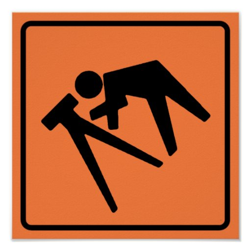 Survey Crew Highway Sign Poster