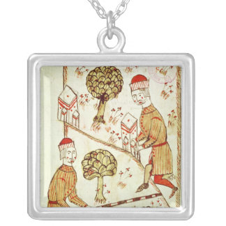 Surveying and demarcation of land silver plated necklace