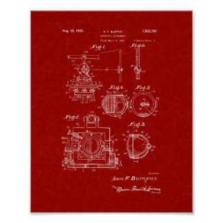 Surveying Instrument Patent - Burgundy Red Posters