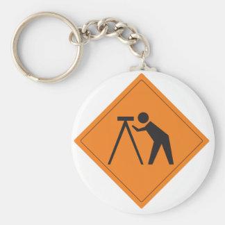Surveyor at Work Sign Basic Round Button Key Ring