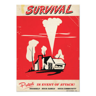 Survival - Vintage Atomic safety poster Photographic Print