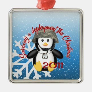 Surviving Deployment 2011 Penguin Silver-Colored Square Decoration