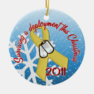 Surviving Deployment 2011 Yellow Ribbon Round Ceramic Decoration