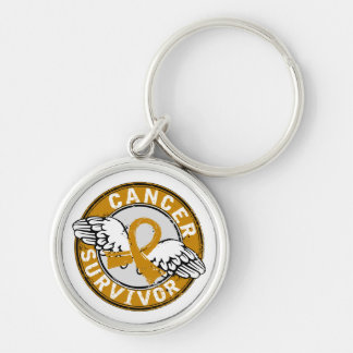 Survivor 14 Appendix Cancer Silver-Colored Round Key Ring