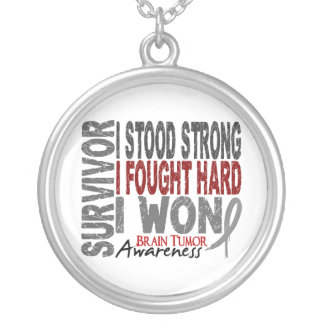 Survivor 4 Brain Tumor Round Pendant Necklace