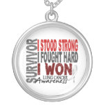 Survivor 4 Lung Cancer Round Pendant Necklace