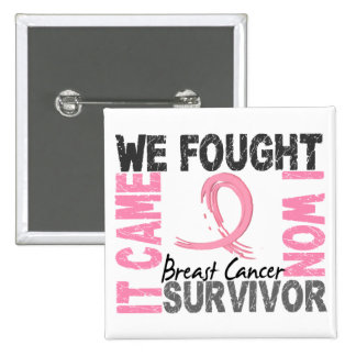 Survivor 5 Breast Cancer 15 Cm Square Badge