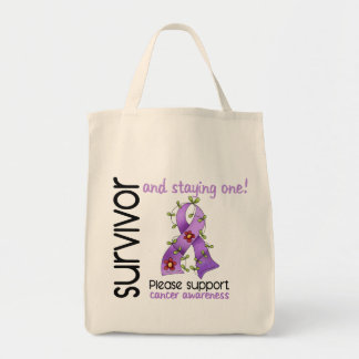 Survivor 9 Cancer Grocery Tote Bag