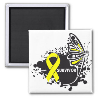 Survivor Abstract Butterfly Bladder Cancer Fridge Magnets