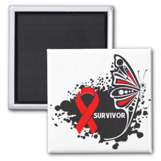 Survivor Abstract Butterfly Blood Cancer Fridge Magnets