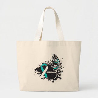 Survivor Abstract Butterfly Cervical Cancer Large Tote Bag