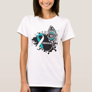 Survivor Abstract Butterfly Cervical Cancer T-Shirt