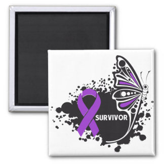 Survivor Abstract Butterfly Pancreatic Cancer Square Magnet