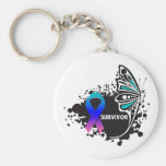 Survivor Abstract Butterfly Thyroid Cancer Basic Round Button Key Ring