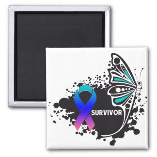 Survivor Abstract Butterfly Thyroid Cancer Square Magnet