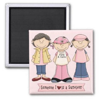 Survivor Breast Cancer Awareness Square Magnet