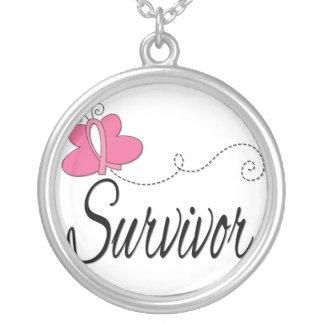Survivor Butterfly Ribbon Breast Cancer Survivor Round Pendant Necklace