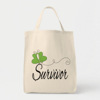 Survivor Butterfly Ribbon Lymphoma Canvas Bag