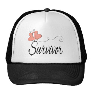 Survivor Butterfly Ribbon Uterine Cancer Hat