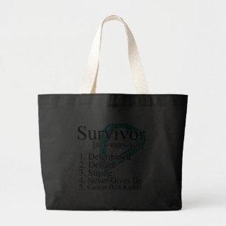 Survivor Definition - Ovarian Cancer Jumbo Tote Bag