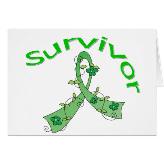 Survivor Flower Ribbon Kidney Cancer Greeting Card