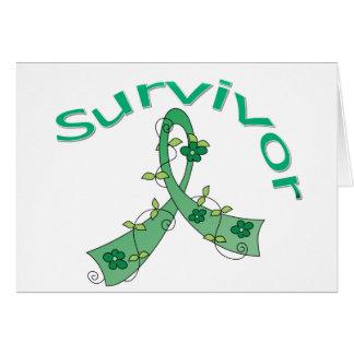 Survivor Flower Ribbon Liver Cancer Greeting Cards
