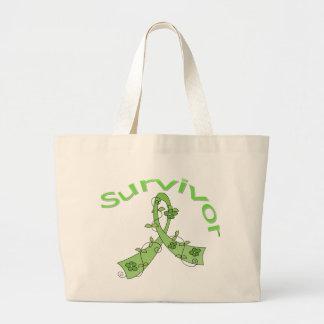 Survivor Flower Ribbon Lymphoma Canvas Bags