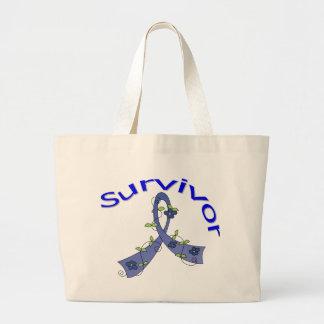 Survivor Flower Ribbon Rectal Cancer Canvas Bag