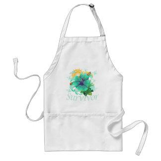 Survivor flower teal standard apron