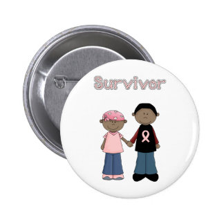 Survivor Pink Ribbon Cartoons 6 Cm Round Badge