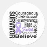 Survivor Powerful Slogans Collage General Cancer Round Stickers