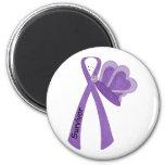 Survivor- Purple Awareness 6 Cm Round Magnet